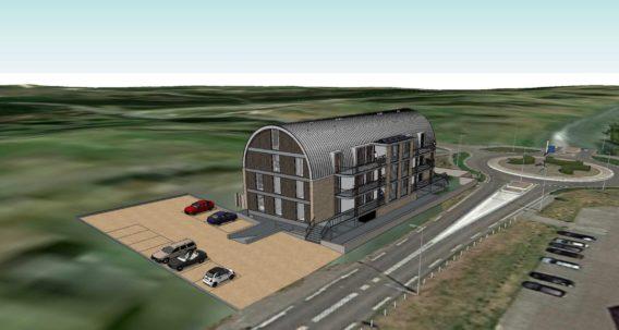 Voorzijde en parkeerplaats van Westduin Lodge